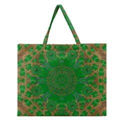 Summer Landscape In Green And Gold Zipper Large Tote Bag by pepitasart