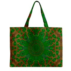 Summer Landscape In Green And Gold Zipper Mini Tote Bag by pepitasart