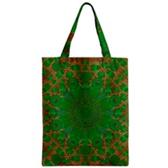 Summer Landscape In Green And Gold Zipper Classic Tote Bag by pepitasart