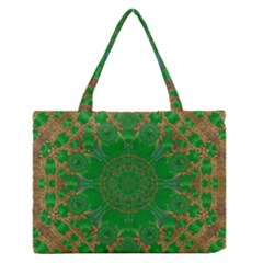 Summer Landscape In Green And Gold Medium Zipper Tote Bag by pepitasart