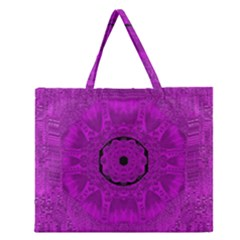 Purple Mandala Fashion Zipper Large Tote Bag by pepitasart