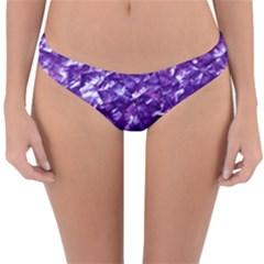 Natural Shimmering Purple Amethyst Mother of Pearl Nacre Reversible Hipster Bikini Bottoms by PodArtist