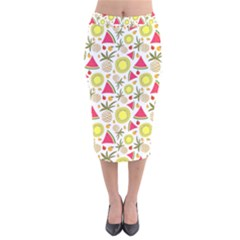 Summer Fruits Pattern Velvet Midi Pencil Skirt by TastefulDesigns