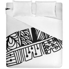 Feather Zentangle Duvet Cover Double Side (california King Size) by CraftyLittleNodes