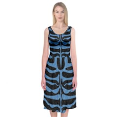 Skin2 Black Marble & Blue Colored Pencil Midi Sleeveless Dress