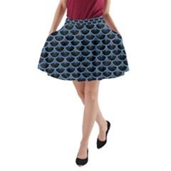 Scales3 Black Marble & Blue Colored Pencil A Line Pocket Skirt