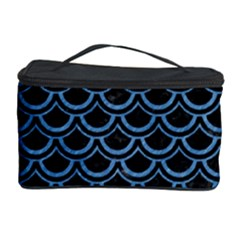 Scales2 Black Marble & Blue Colored Pencil Cosmetic Storage Case by trendistuff
