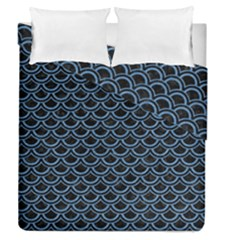 Scales2 Black Marble & Blue Colored Pencil Duvet Cover Double Side (queen Size) by trendistuff