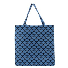 Scales1 Black Marble & Blue Colored Pencil (r) Grocery Tote Bag by trendistuff