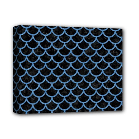 Scales1 Black Marble & Blue Colored Pencil Deluxe Canvas 14  X 11  (stretched) by trendistuff