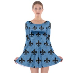 Royal1 Black Marble & Blue Colored Pencil Long Sleeve Skater Dress