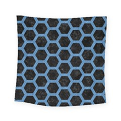 Hexagon2 Black Marble & Blue Colored Pencil Square Tapestry (small) by trendistuff