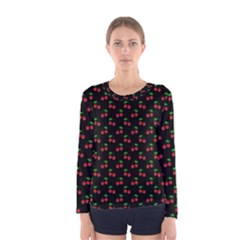 Natural Bright Red Cherries on Black Pattern Women s Long Sleeve Tee