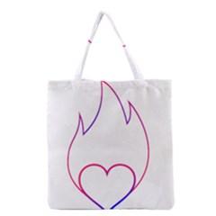 Heart Flame Logo Emblem Grocery Tote Bag by Nexatart