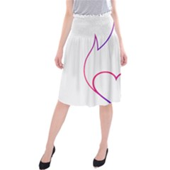 Heart Flame Logo Emblem Midi Beach Skirt by Nexatart