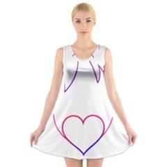 Heart Flame Logo Emblem V Neck Sleeveless Skater Dress