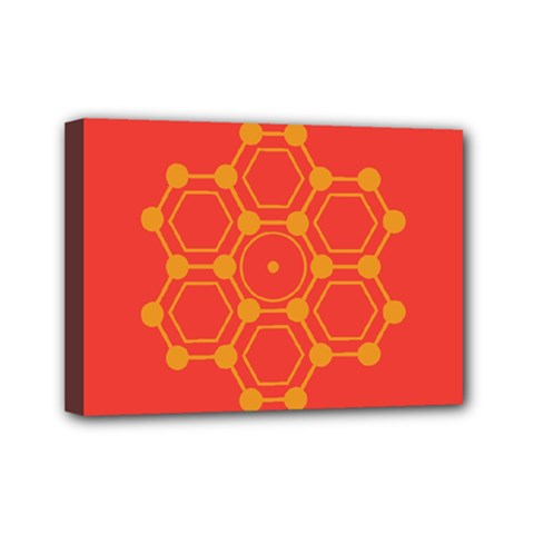 Pentagon Cells Chemistry Yellow Mini Canvas 7  X 5