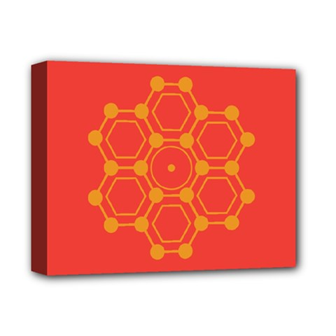 Pentagon Cells Chemistry Yellow Deluxe Canvas 14  X 11