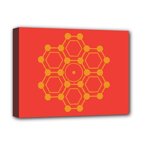 Pentagon Cells Chemistry Yellow Deluxe Canvas 16  X 12   by Nexatart