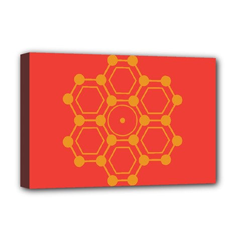 Pentagon Cells Chemistry Yellow Deluxe Canvas 18  X 12   by Nexatart