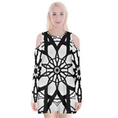 Pattern Abstract Fractal Velvet Long Sleeve Shoulder Cutout Dress