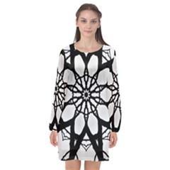 Pattern Abstract Fractal Long Sleeve Chiffon Shift Dress