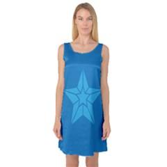 Star Design Pattern Texture Sign Sleeveless Satin Nightdress