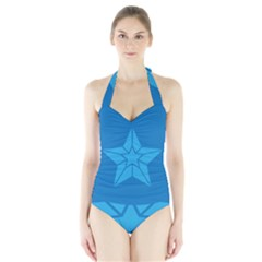 Star Design Pattern Texture Sign Halter Swimsuit