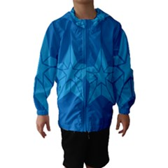 Star Design Pattern Texture Sign Hooded Wind Breaker (kids)