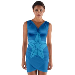 Star Design Pattern Texture Sign Wrap Front Bodycon Dress