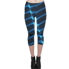 Background Light Glow Blue Capri Leggings