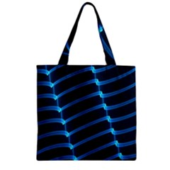 Background Light Glow Blue Zipper Grocery Tote Bag by Nexatart