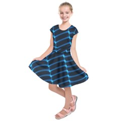 Background Light Glow Blue Kids  Short Sleeve Dress