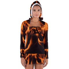 Fire Flame Heat Burn Hot Women s Long Sleeve Hooded T Shirt