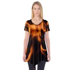 Fire Flame Heat Burn Hot Short Sleeve Tunic