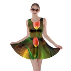 Tulip Flower Background Nebulous Skater Dress