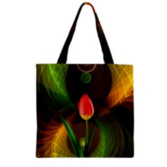Tulip Flower Background Nebulous Zipper Grocery Tote Bag