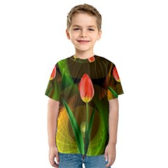 Tulip Flower Background Nebulous Kids  Sport Mesh Tee
