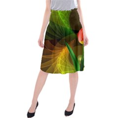 Tulip Flower Background Nebulous Midi Beach Skirt