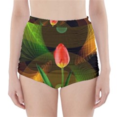 Tulip Flower Background Nebulous High Waisted Bikini Bottoms