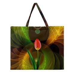 Tulip Flower Background Nebulous Zipper Large Tote Bag by Nexatart