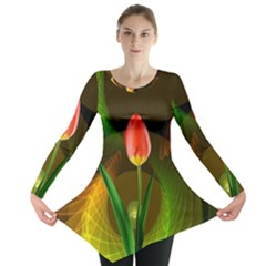 Tulip Flower Background Nebulous Long Sleeve Tunic