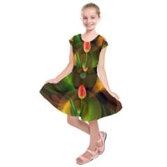 Tulip Flower Background Nebulous Kids  Short Sleeve Dress