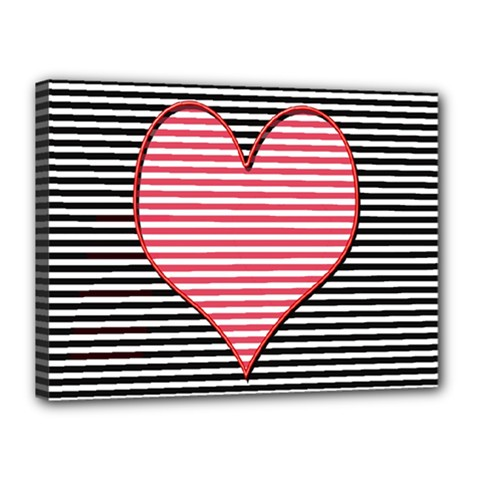 Heart Stripes Symbol Striped Canvas 16  X 12  by Nexatart