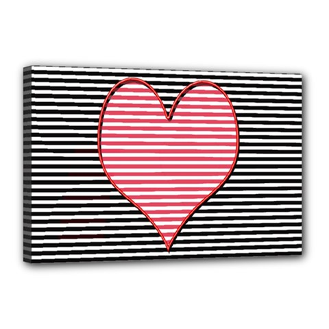 Heart Stripes Symbol Striped Canvas 18  X 12