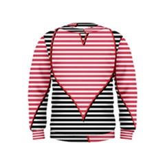 Heart Stripes Symbol Striped Kids  Sweatshirt