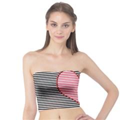 Heart Stripes Symbol Striped Tube Top by Nexatart