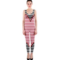 Heart Stripes Symbol Striped Onepiece Catsuit by Nexatart