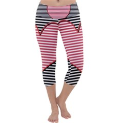 Heart Stripes Symbol Striped Capri Yoga Leggings