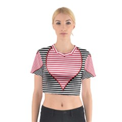 Heart Stripes Symbol Striped Cotton Crop Top